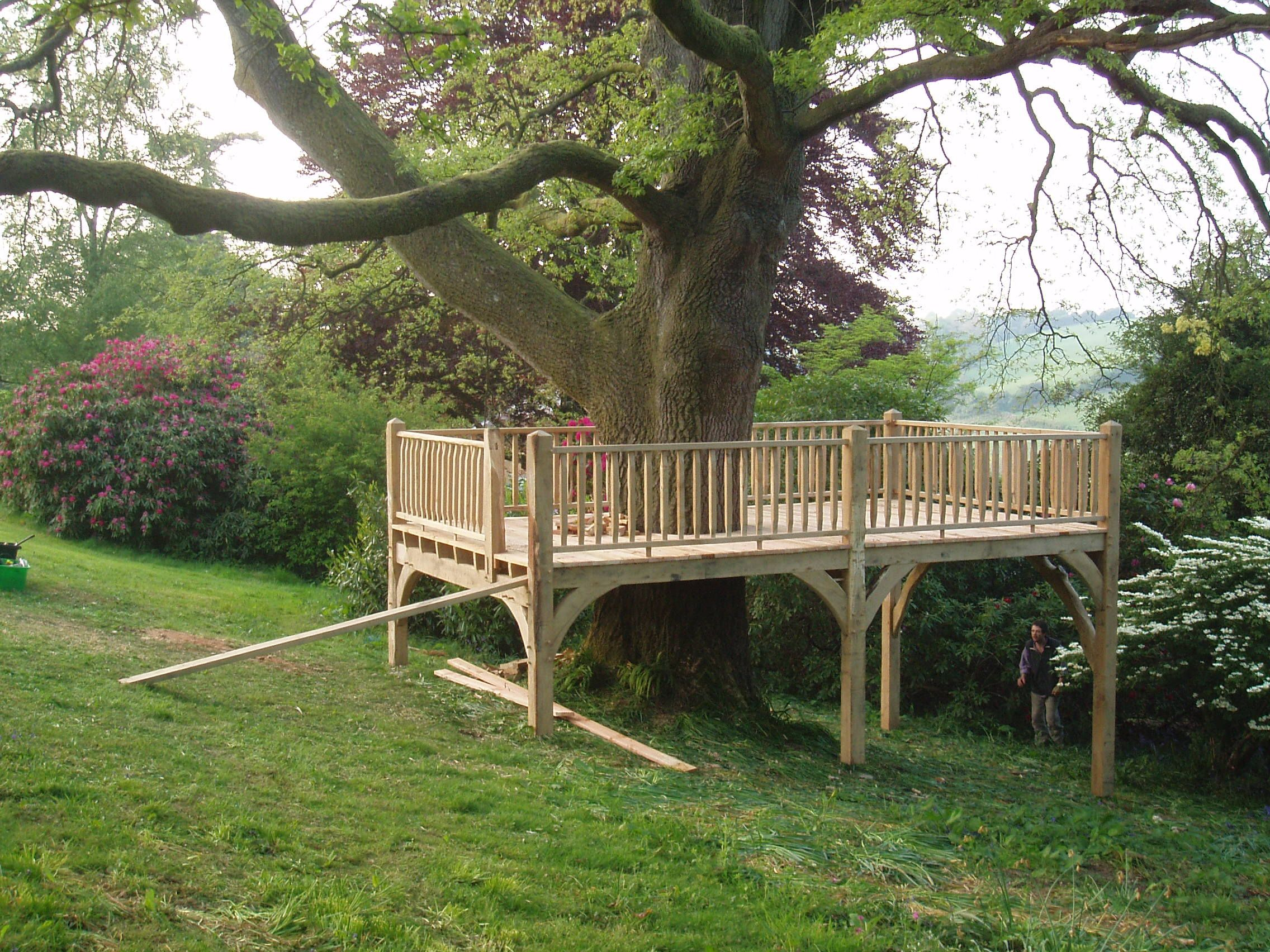 tree platform. Who needs a deck? Add outdoor furniture ...