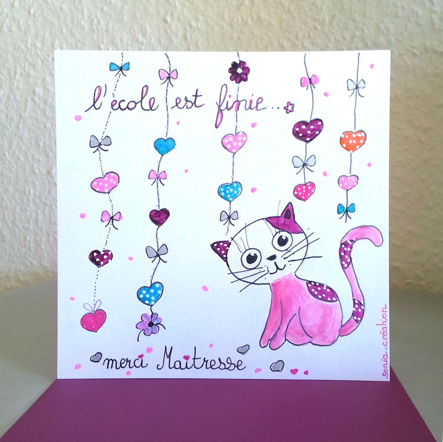 carte merci maitresse carte peinte a la main carte chat carte fait main cartes par sonia. Black Bedroom Furniture Sets. Home Design Ideas