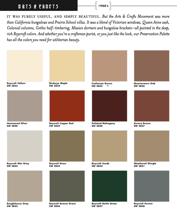 Sherwin williams arts crafts historic paint colors for Craftsman exterior color schemes
