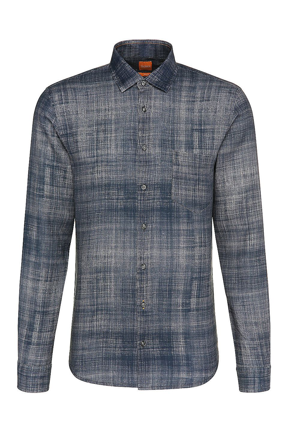 2fe84874d4f2 Printed slim-fit shirt in linen   Epop  Dark Blue from BOSS Orange for Men  for £105.00 in the official HUGO BOSS Online Store free shipping