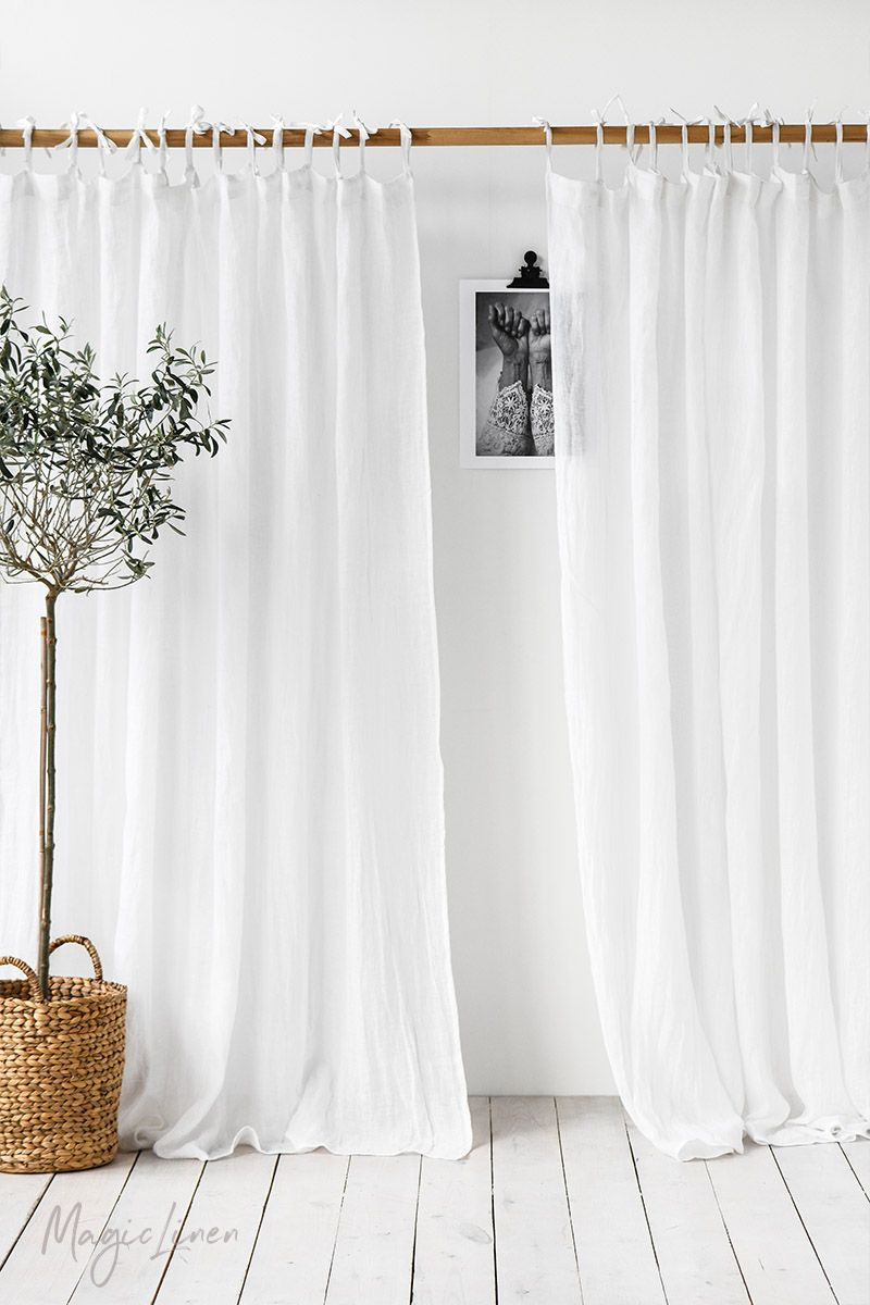 Sheer Tie Top Linen Curtain Panel Linen Curtains White Linen
