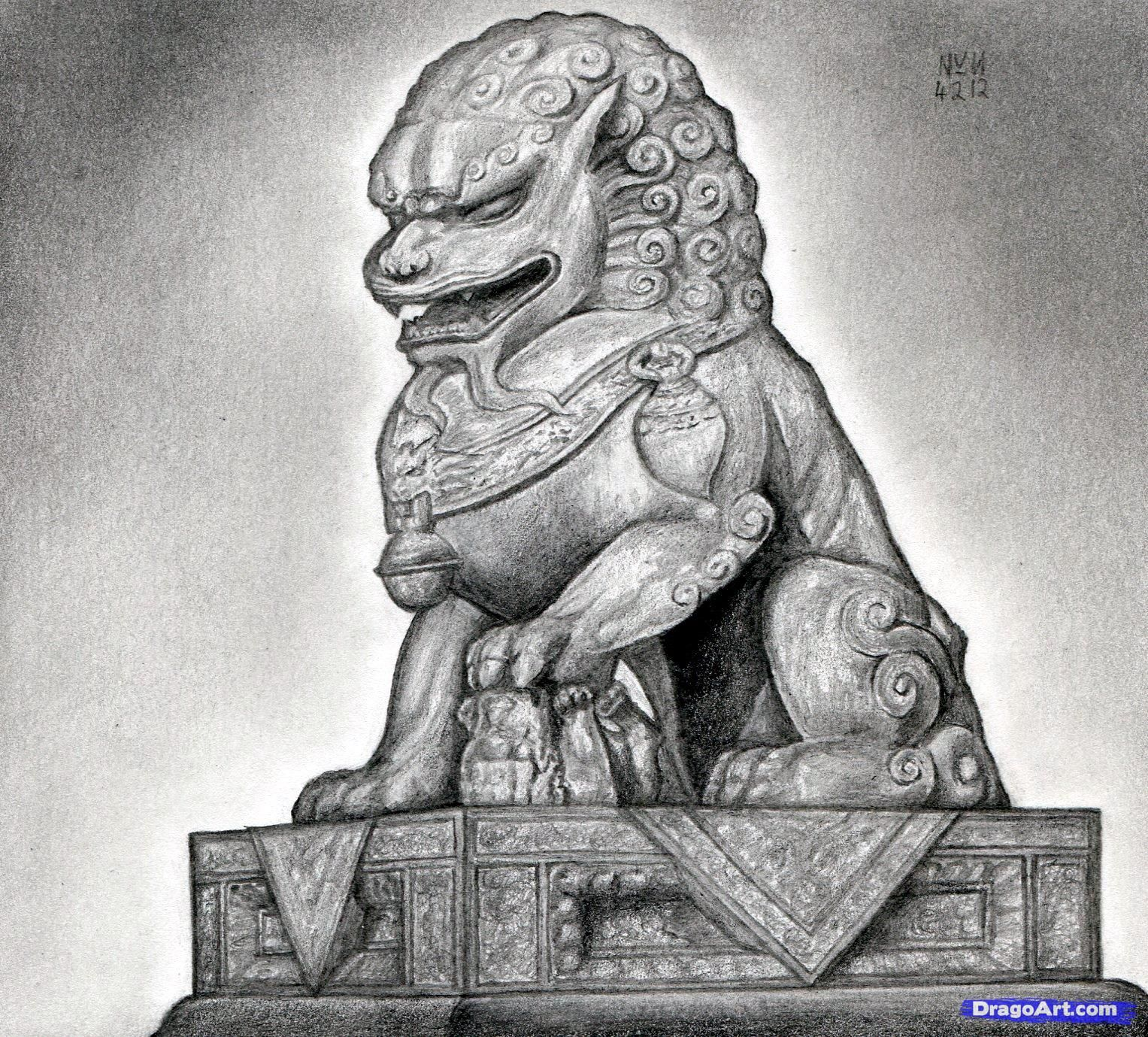 Japanese Guardian Lion Drawing How To Draw A Foo Dog Japanese Guardian Lion  Drawing How To