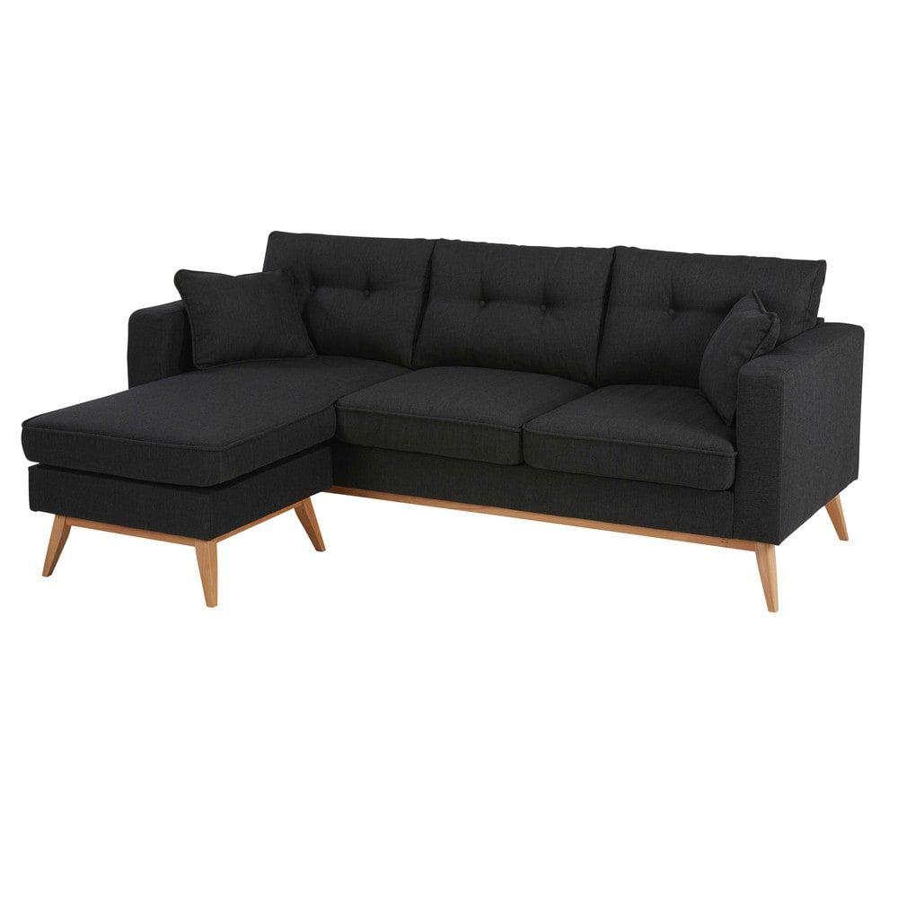Canape D Angle Style Scandinave 4 5 Places Gris Anthracite Modular Corner Sofa Sofa Corner Sofa