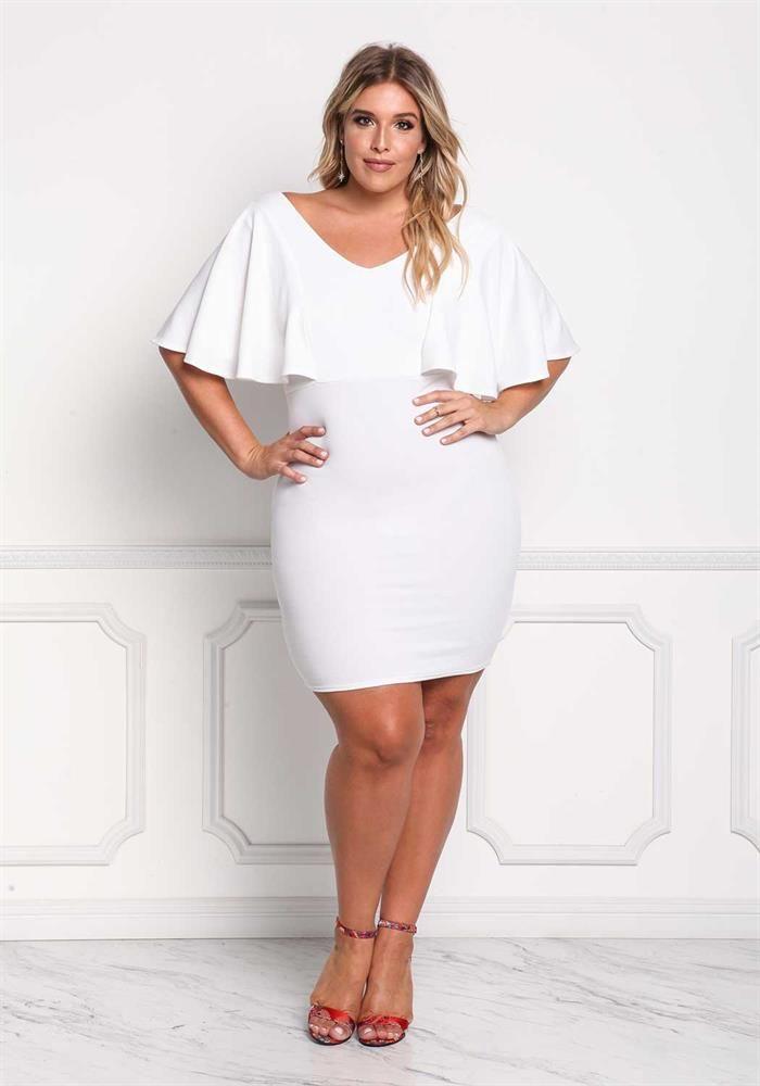 8fe96cc3ad Plus Size Clothing | Plus Size Ruffle Sleeve Bodycon Dress | Debshops