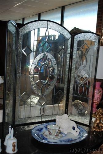 Preferred Beautiful Beveled Leaded Glass Fireplace Screen Decoration   Glass  NS05