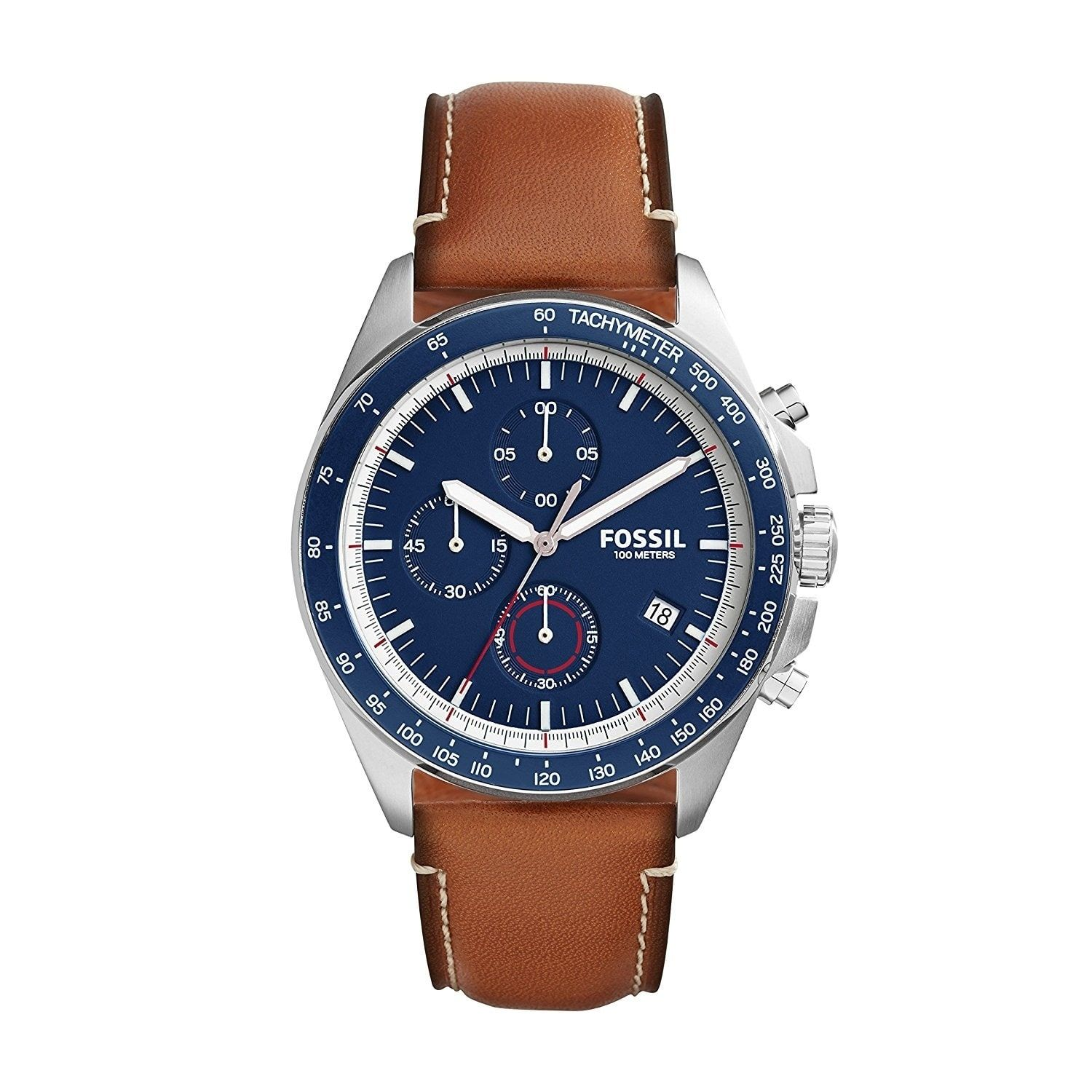 Fossil Men's Sport 54 Chronograph Blue Dial Brown Leather