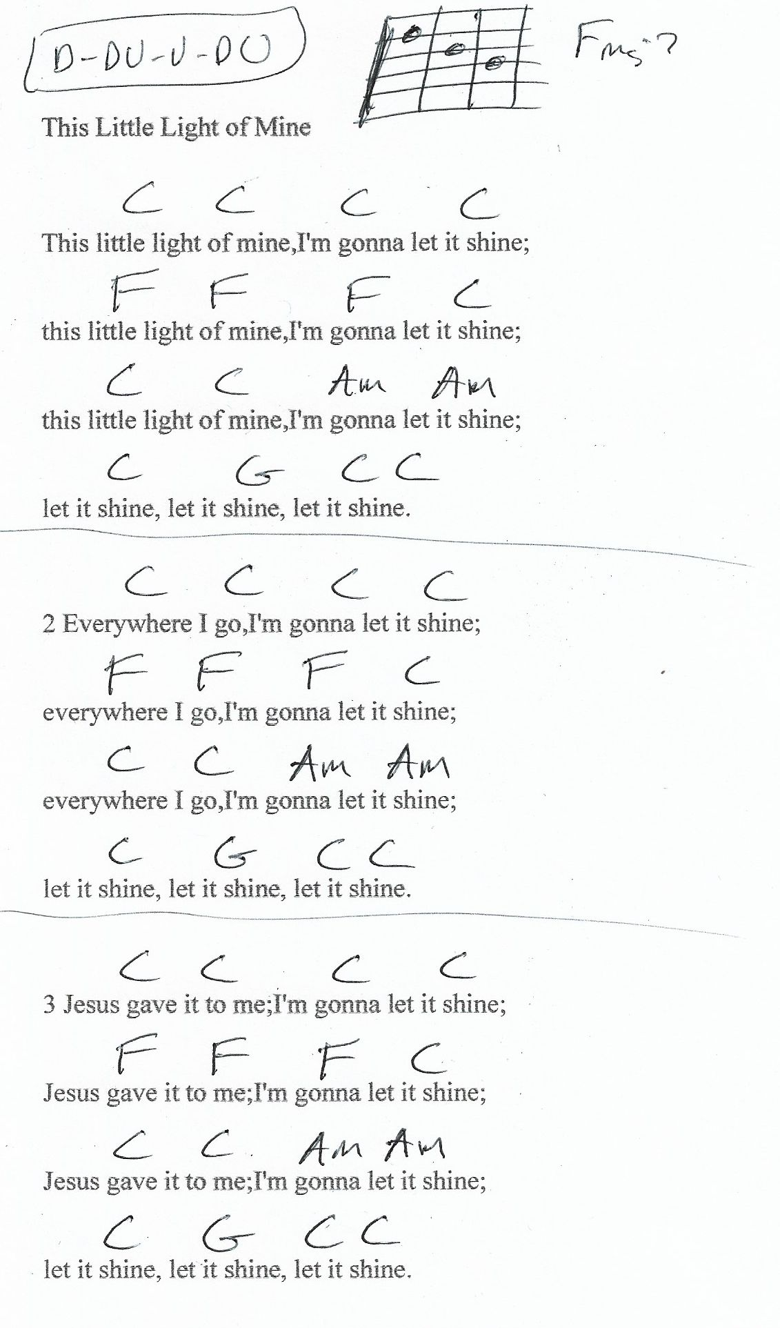 This Little Light Of Mine Guitar Chord Chart In C Major Ukulele Music Guitar Chord Chart Ukelele Chords