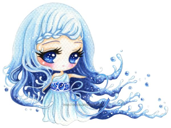 Water Element Girl In Water Water Element Cute Chibi