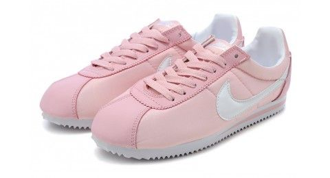 Nike Classic Cortez Basic Nylon Pink And White About Foot And Leg Shoes Sock Shoes Sneakers