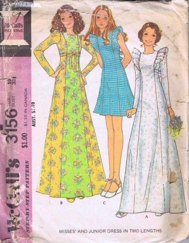 Vintage McCalls Ladies Retro 1970s Dress Maxi Boho Sewing Pattern ...