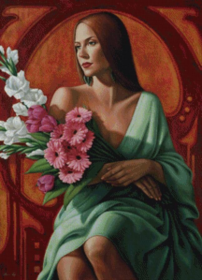девушка с цветами - Схемы вышивки - smetan41k - Авторы - Портал «Вышивка крестом»