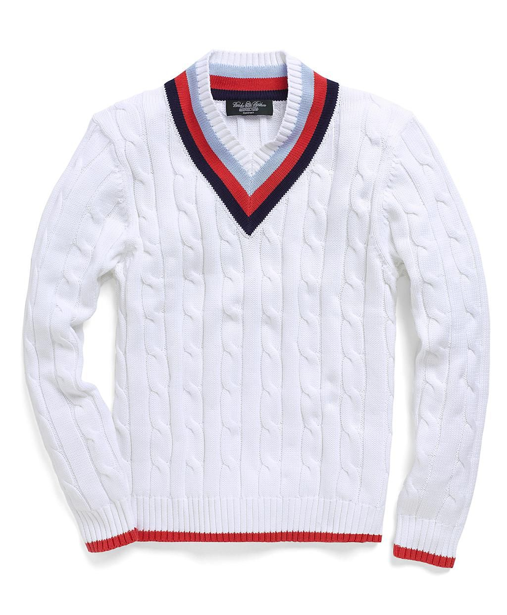 Country Club Supima 174 Tennis Cable V Neck Sweater Brooks