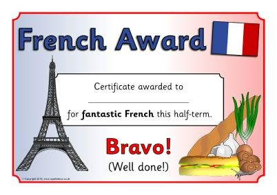 French Award Certificates Sb  Sparklebox  Free Teaching