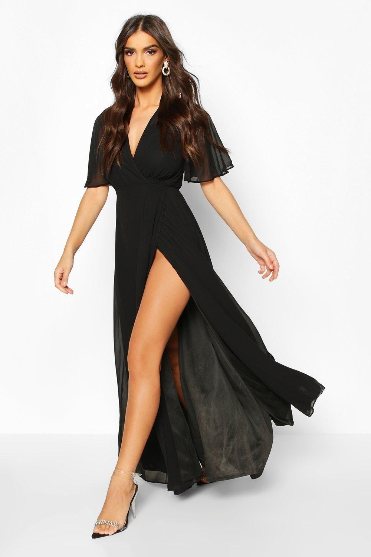 Chiffon Angel Sleeve Wrap Maxi Bridesmaid Dress Boohoo Black Bridesmaid Dresses Maxi Dress With Sleeves Latest Bridesmaid Dresses [ 1500 x 1000 Pixel ]