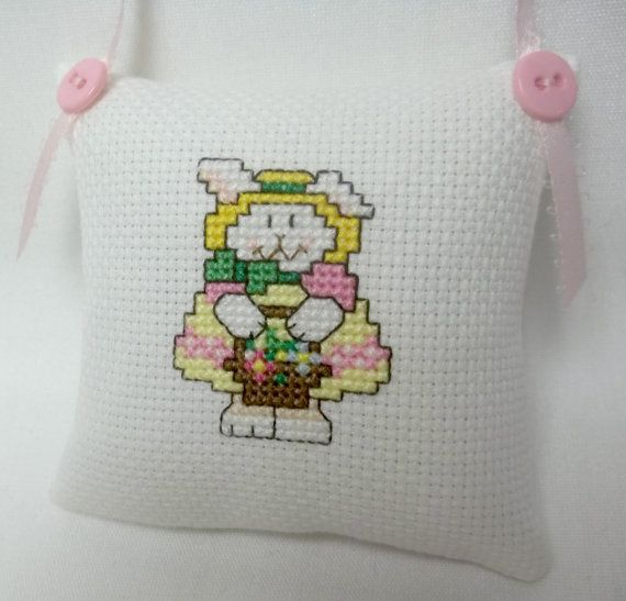Bunny Girl With Easter Basket Cross Stitch by luvinstitchin4u