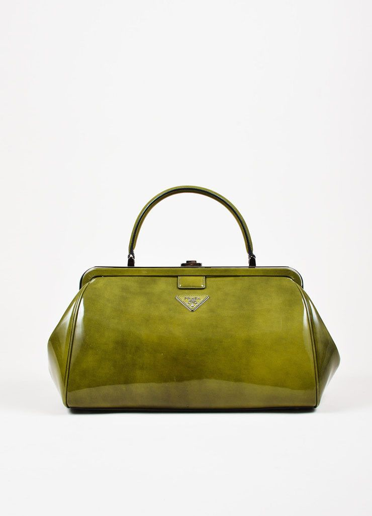 b6c09d6d3e0b Prada Green Patent Leather Silver Toned Push Button Structured Frame Bag