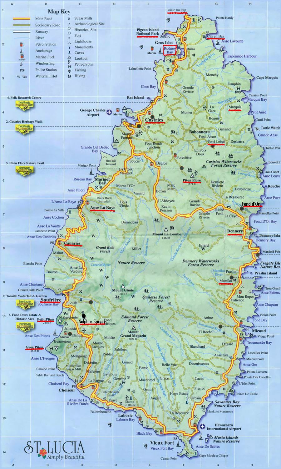 st lucia tourist attractions map Large Detailed Road Map Of Saint Lucia Saint Lucia Large Detailed st lucia tourist attractions map