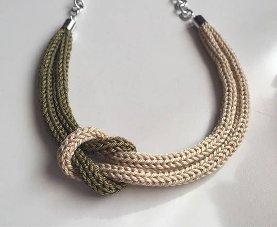Military Green Tricot Necklace With Sailor Knot Knitting Collane
