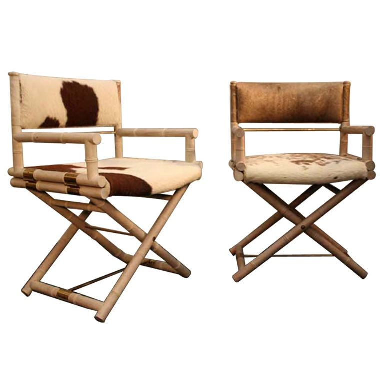Pair of Faux Bamboo and Brass Directors Chairs | From a unique collection  of antique and modern armchairs at ... - Pair Of Faux Bamboo And Brass Directors Chairs Faux Bamboo