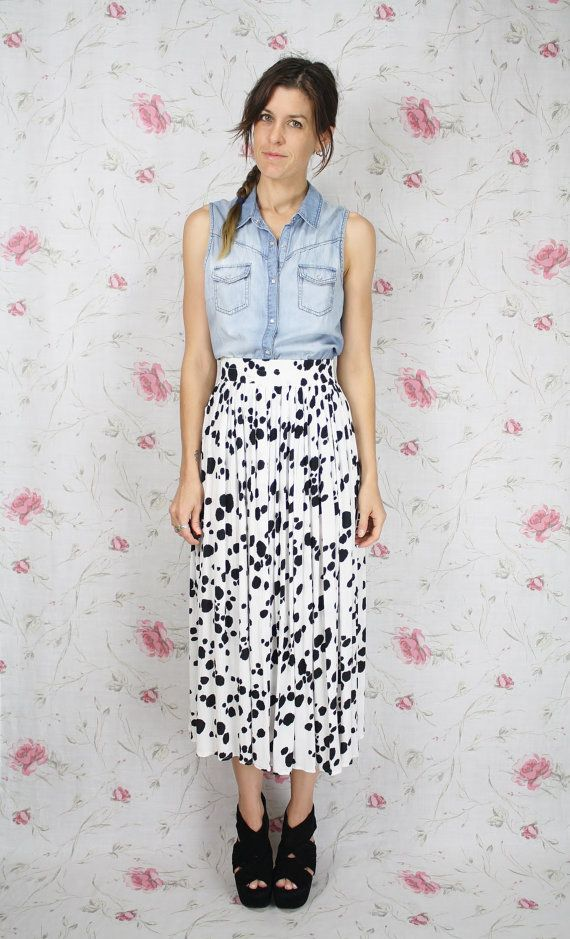 957d452047 French VINTAGE DALMATIAN print skirt by  renewvintage