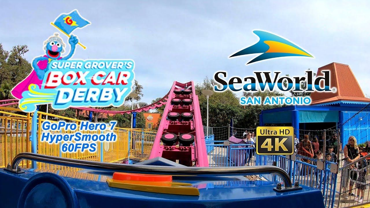 2019 Super Grover S Box Car Derby Roller Coaster Seaworld San Antonio On Seaworld San Antonio Sea World Roller Coaster