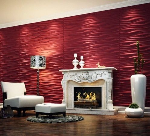 Interior Red 3d Wall Panels Decoration With White Gas Fireplace Stone Veneer Wainscoting Kits