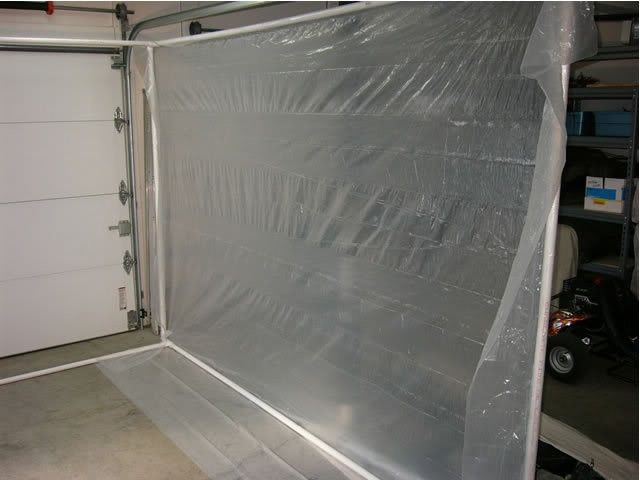 Paint Booth By Markd Homemade Paint Booth Constructed In A Single Garage Bay From Pvc Tubing And Clear Plast Paint Booth Homemade Paint Portable Spray Booth