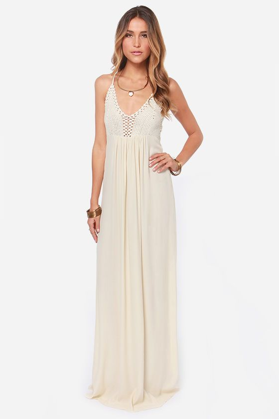 888e652269c1a This would be a great maternity session dress! Hippie Hippie Chic Cream  Maxi Dress at Lulus.com!
