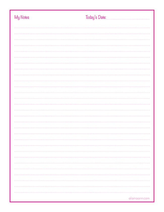 image about Free Printable Notes Pages named Notes Web page :: Well prepared Existence Absolutely free Printable :: Alaina Ann