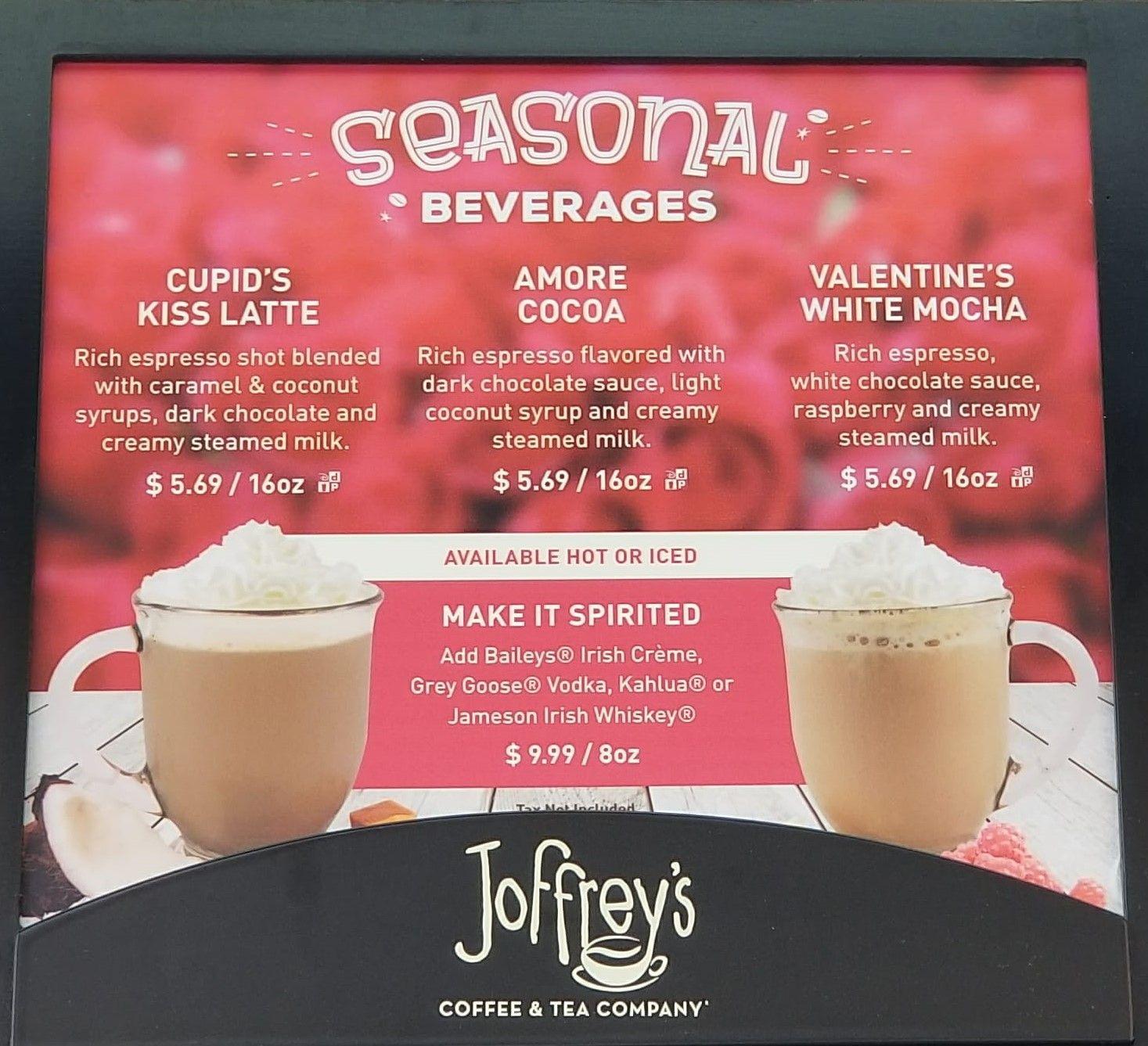 Valentine S Day Themed Seasonal Drinks Return To Disney World Joffrey S Kiosks Seasonal Drinks Espresso Flavor Coconut Caramel