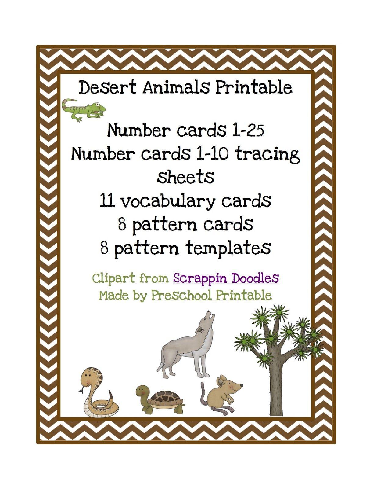 Preschool Printables Desert Animals Printable