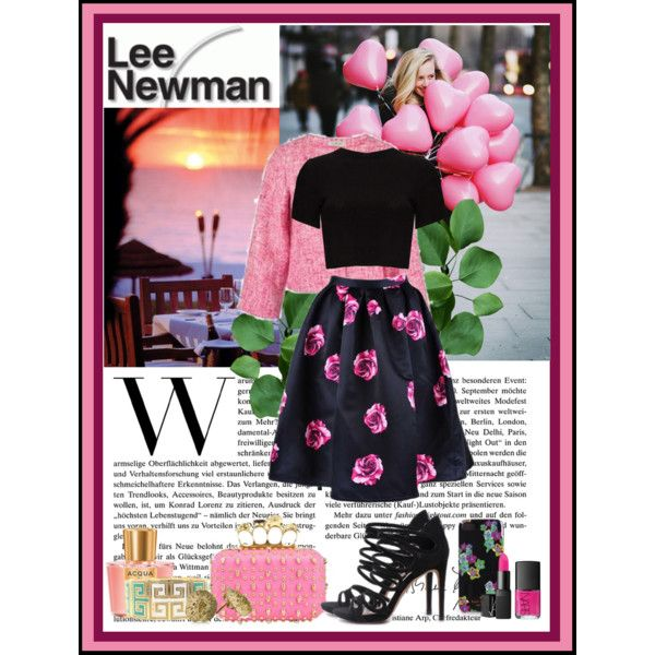 """""""Pinky promise."""" by nataly212 on Polyvore Skirt: http://getthelooks.com.au/rose-print-full-skirt-in-blush-and-fuchsia Jacket: http://getthelooks.com.au/tweed-crop-jacket-with-bows Clutch: http://getthelooks.com.au/skull-studed-box-clutch-in-pink"""