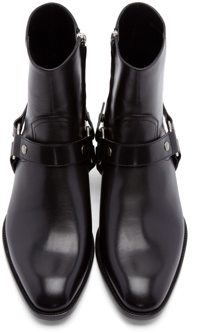 19cd67e1954 Saint Laurent Black Leather Harness Wyatt Boots | Styles in 2019 ...