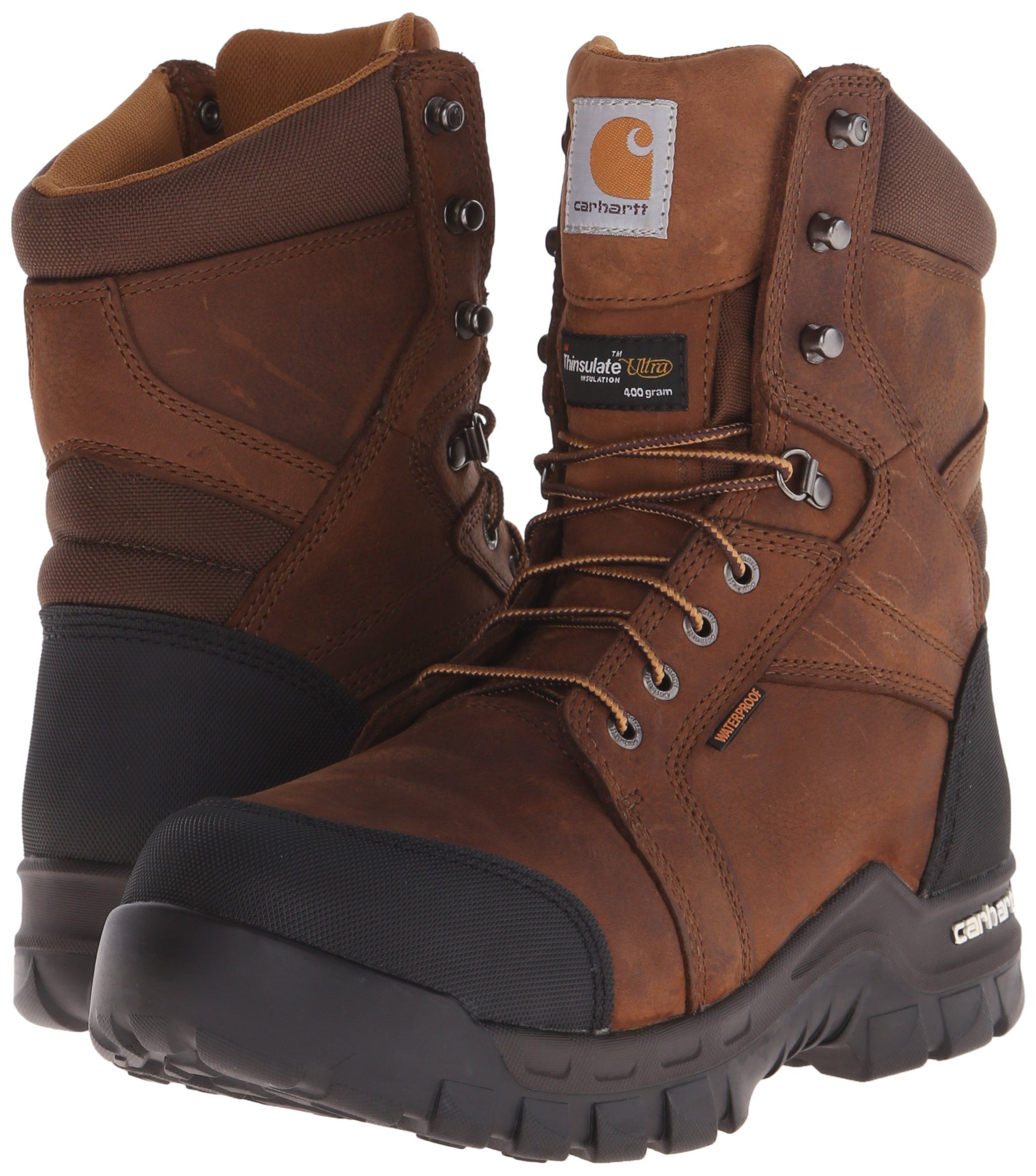 Carhartt Mens 8 Rugged Flex Insulated Waterproof Breathable Safety Toe Leather Work Boot Cmf8389 Brown 8 5 Work Boots Men Leather Work Boots Boots