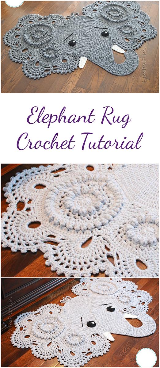 Elephant Rug Crochet Tutorial Video 4 Parts Randoffcom Diy