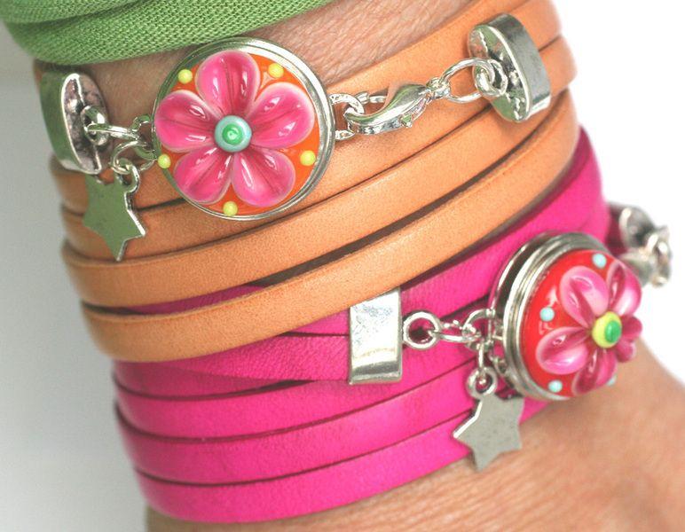 Chunk Armband zum bestücken mit einem Chunk, echtes Leder/Metall, natur, mit kleinem Metall-Stern. Das Armband wird 3x um den Arm gewickelt. Sie k...