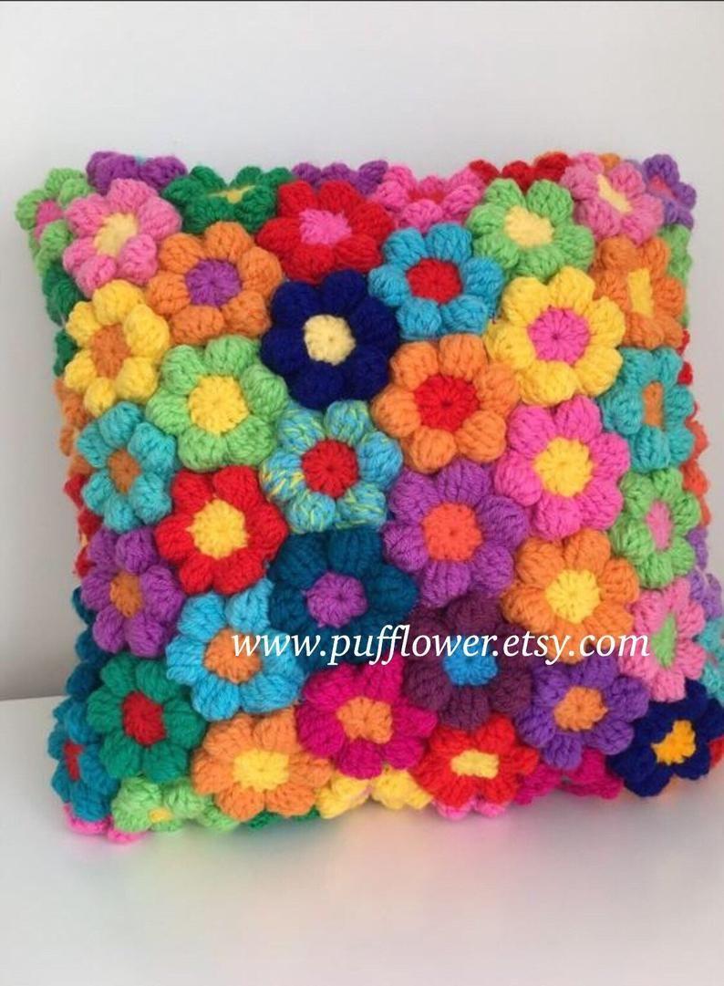 Crochet flower cushion couch pillow
