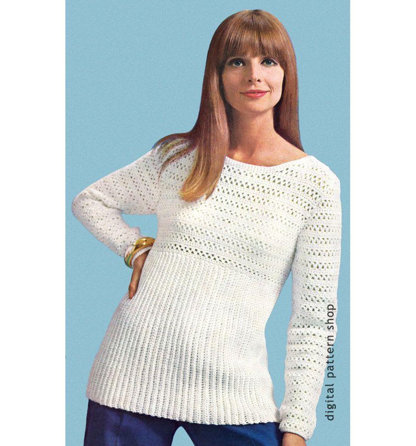 Womens Crochet Sweater Pattern 1960s Pullover Top Crochet Pattern ...