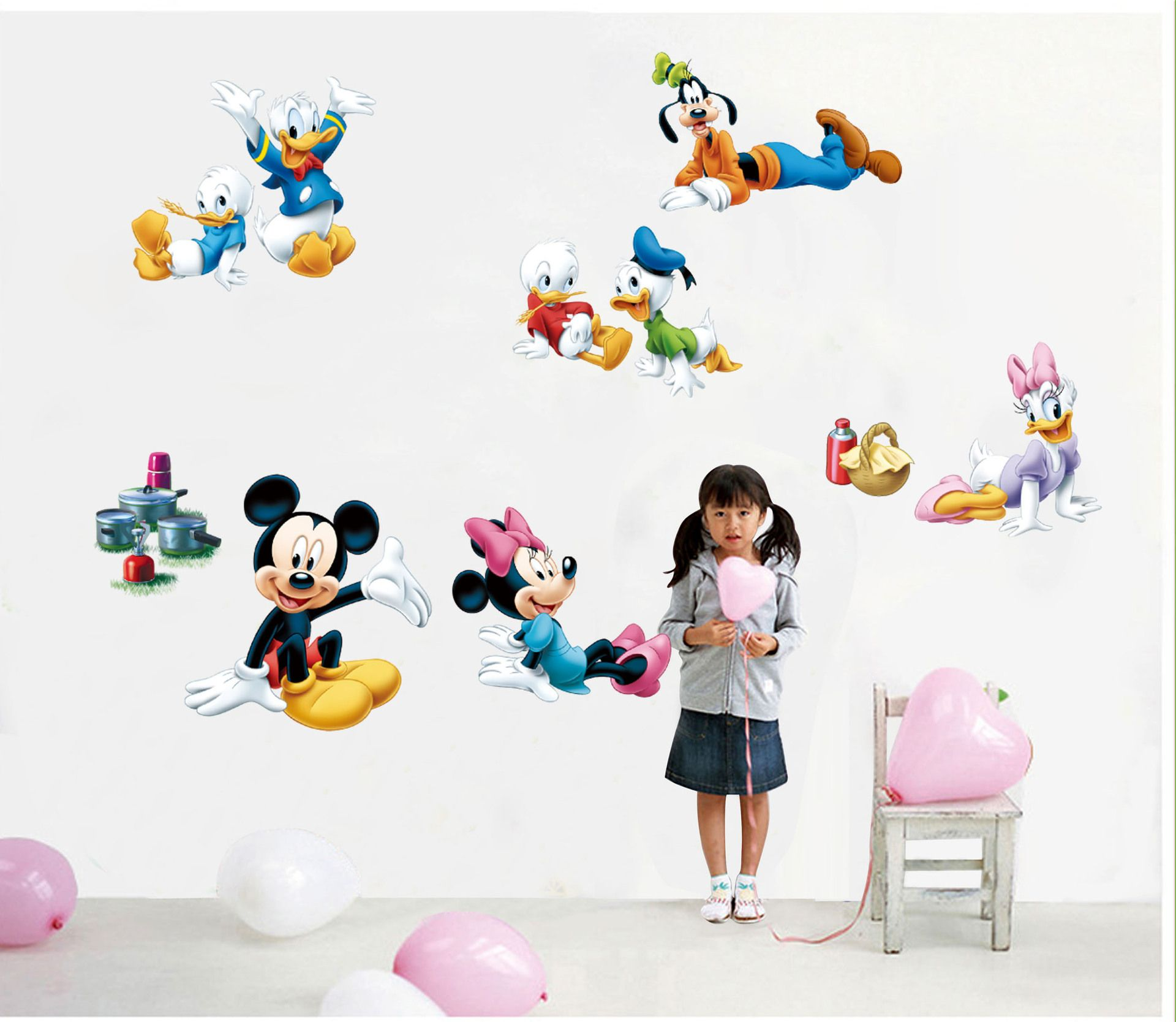 >> Click to Buy << Creative Cartoon Mickey and Donald Duck Wall Stickers Three generations can be removed children's room background wall stickers #Affiliate