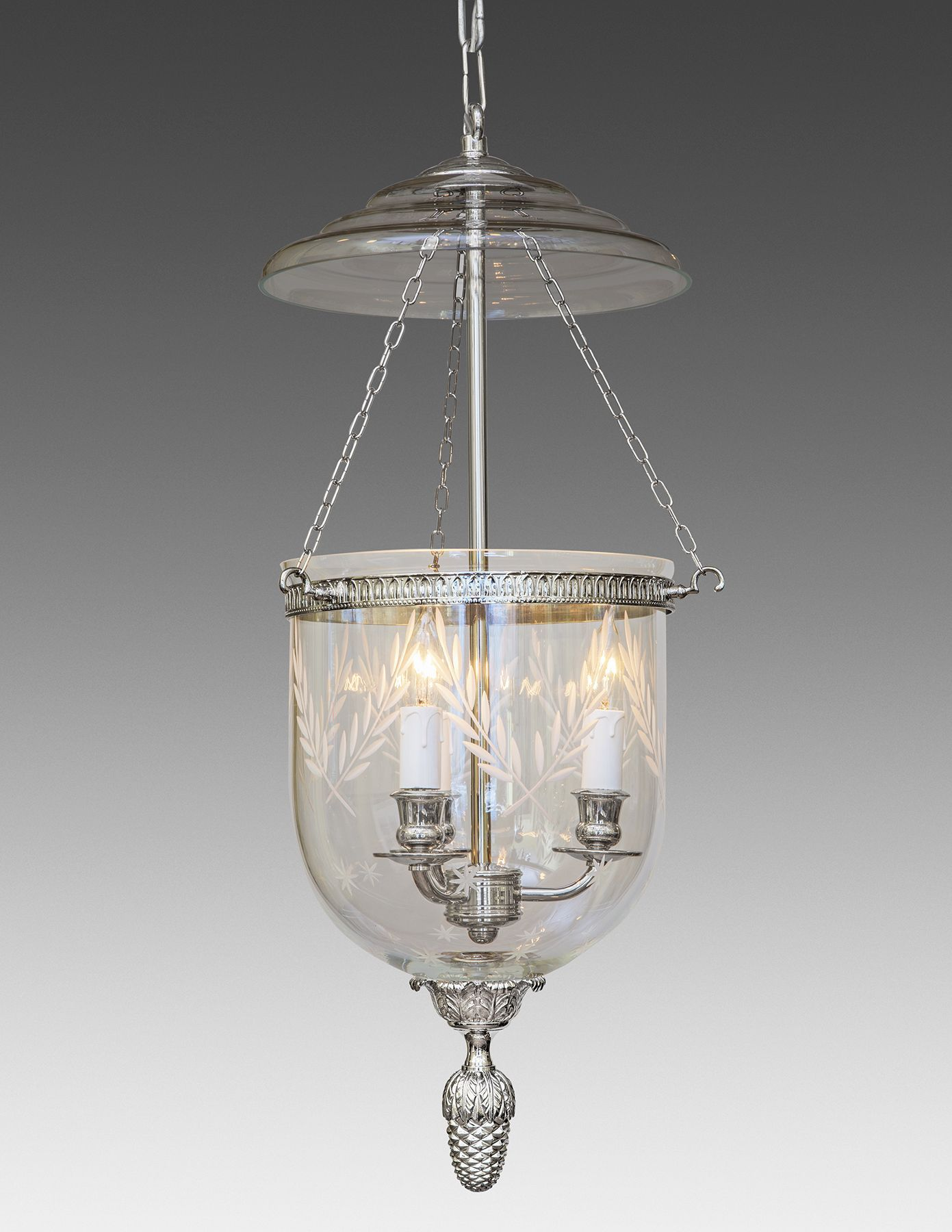 The Federalist Designs Bell Jar Lantern Cast Brass And Glass Etched Leaves Stars Decorated Three Light