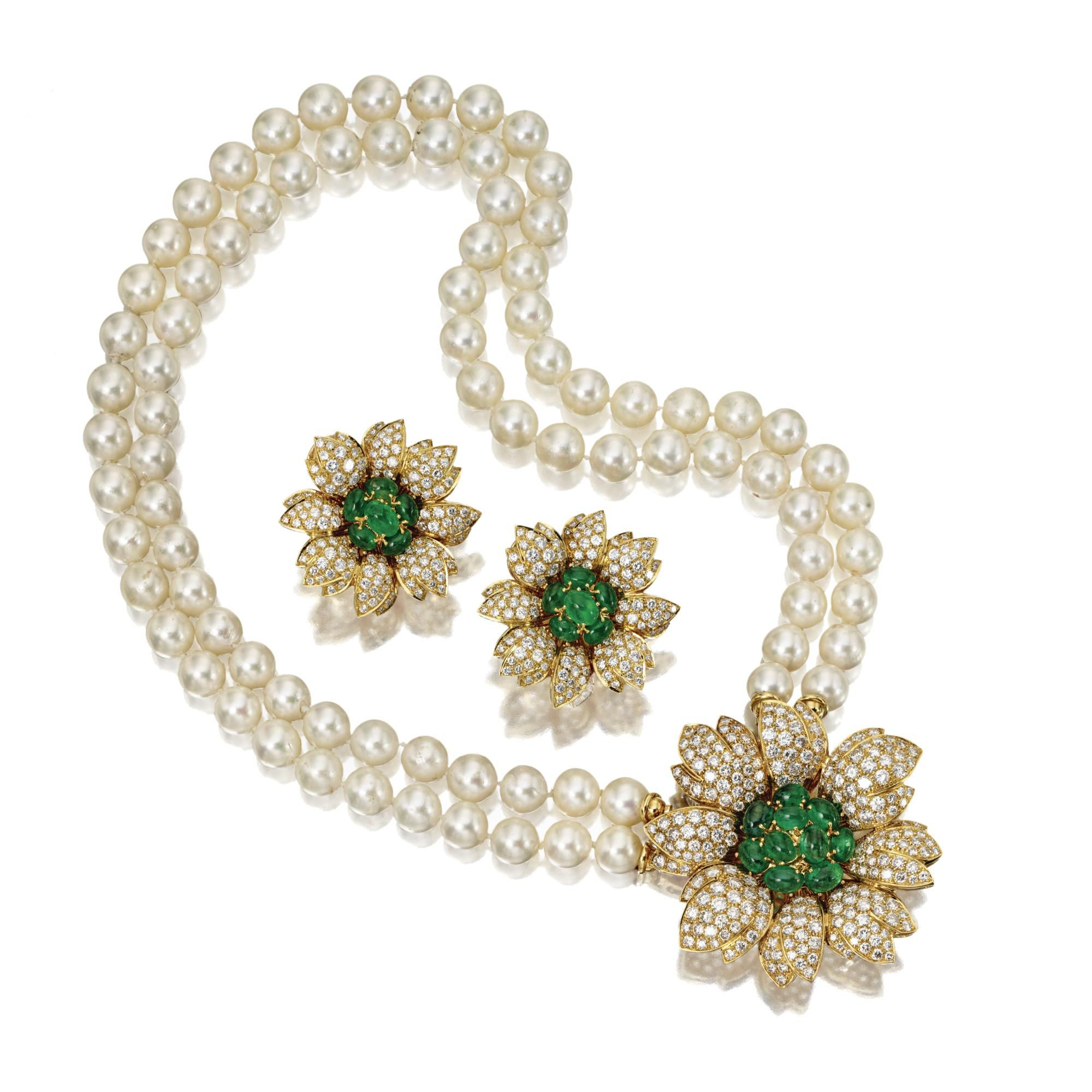 Emerald, Diamond And Cultured Pearl Necklace And Matching Earclips, Giovane   Lot  Sotheby's