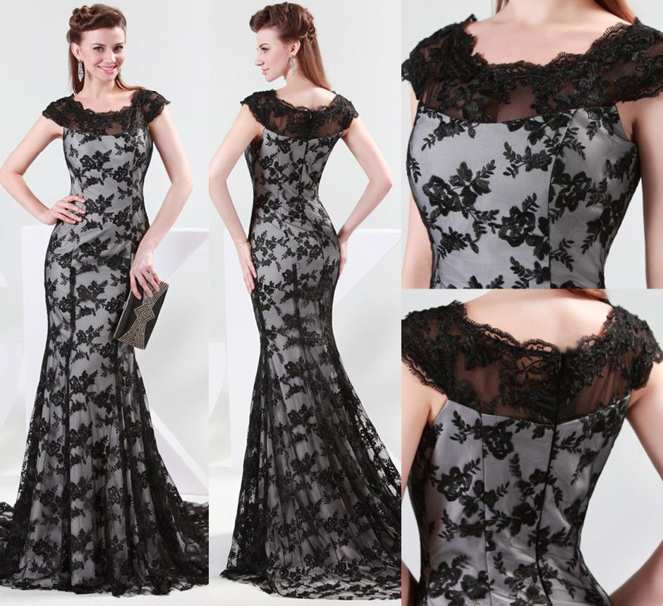 Us new vintage mermaid lace formal evening long ball gown party