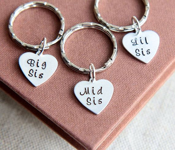 Sisters Family Key Ring Big Sis Little Lil Sis Keychain Best Friends Keychains