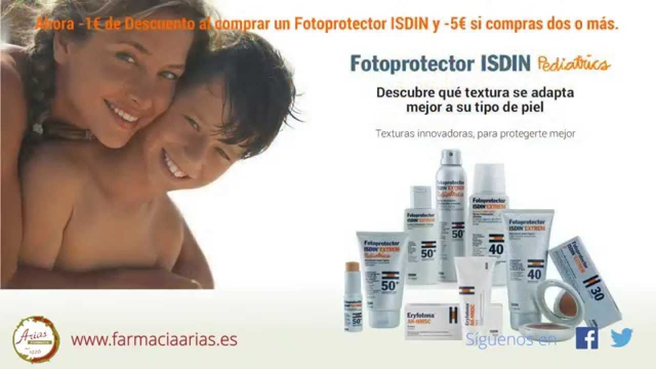Aprovecha la #promoción de Farmacia Arias en #fotoprotección ISDIN: por la compra de un producto 1 € de Dto. y por la compra de dos o más 5 €. Que el recuerdo del #sol no marque tu #piel. Fotoprotégete bien.