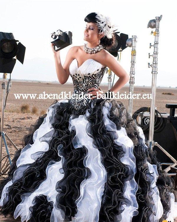 Schwarz Weisses Abendkleid Ballkleid Brautkleid Online ...