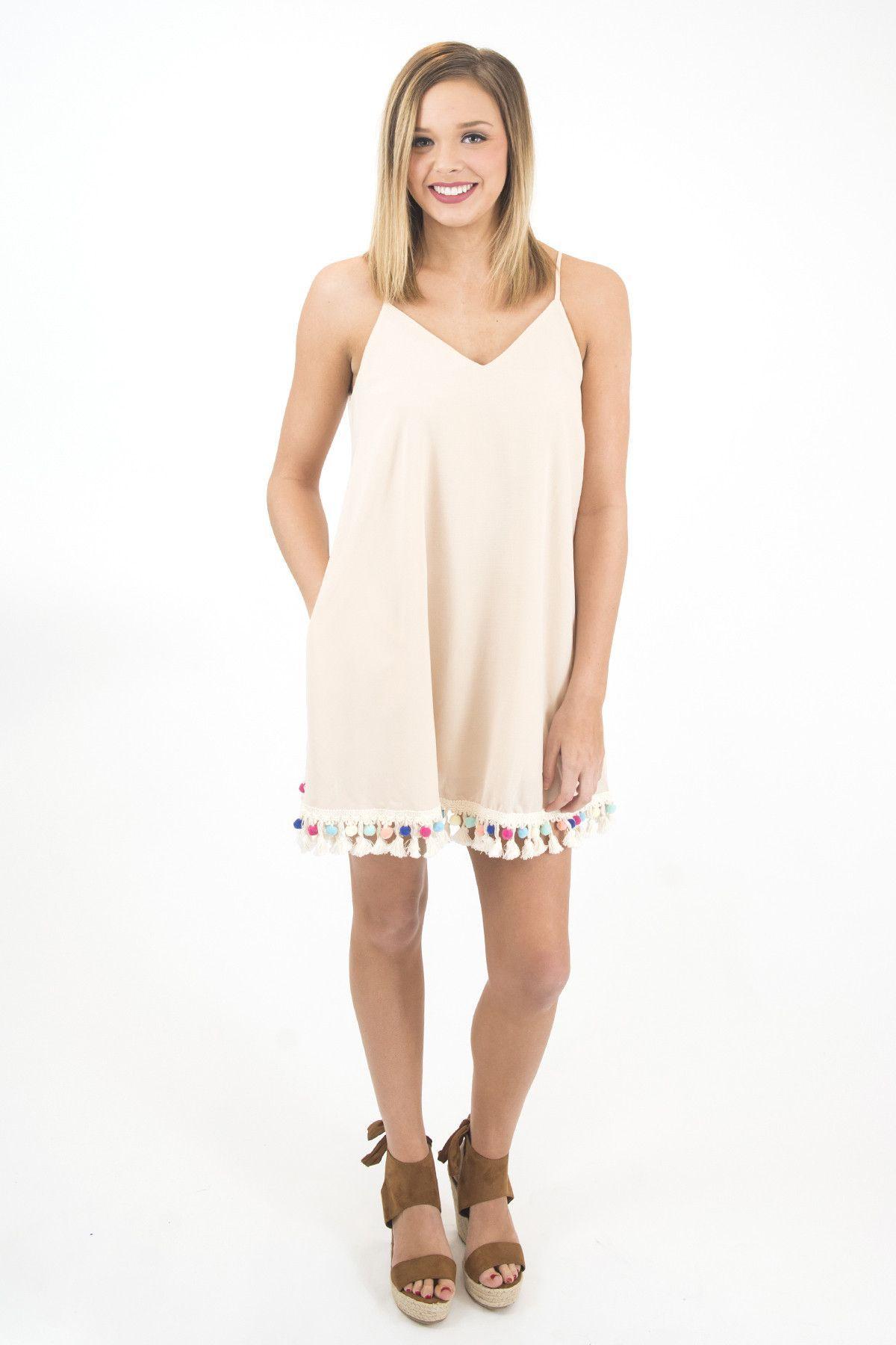 Women's Cream Sleeveless Woven With Pom Pom Trim Dress