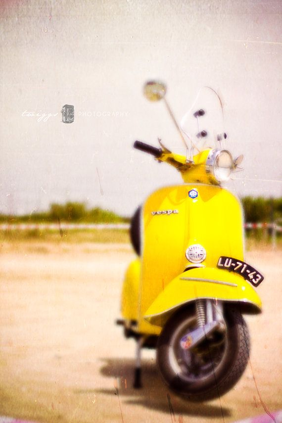 Vintage Vespas Photography - Yellow Summer 8x12 old antique 50's whimsical  dreamy Fine Art Print