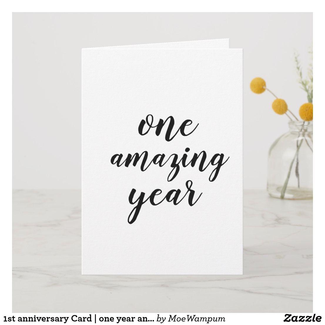 1st Anniversary Card One Year Anniversary Card Zazzle Com 1st Anniversary Cards Love Anniversary Quotes Anniversary Wishes For Boyfriend
