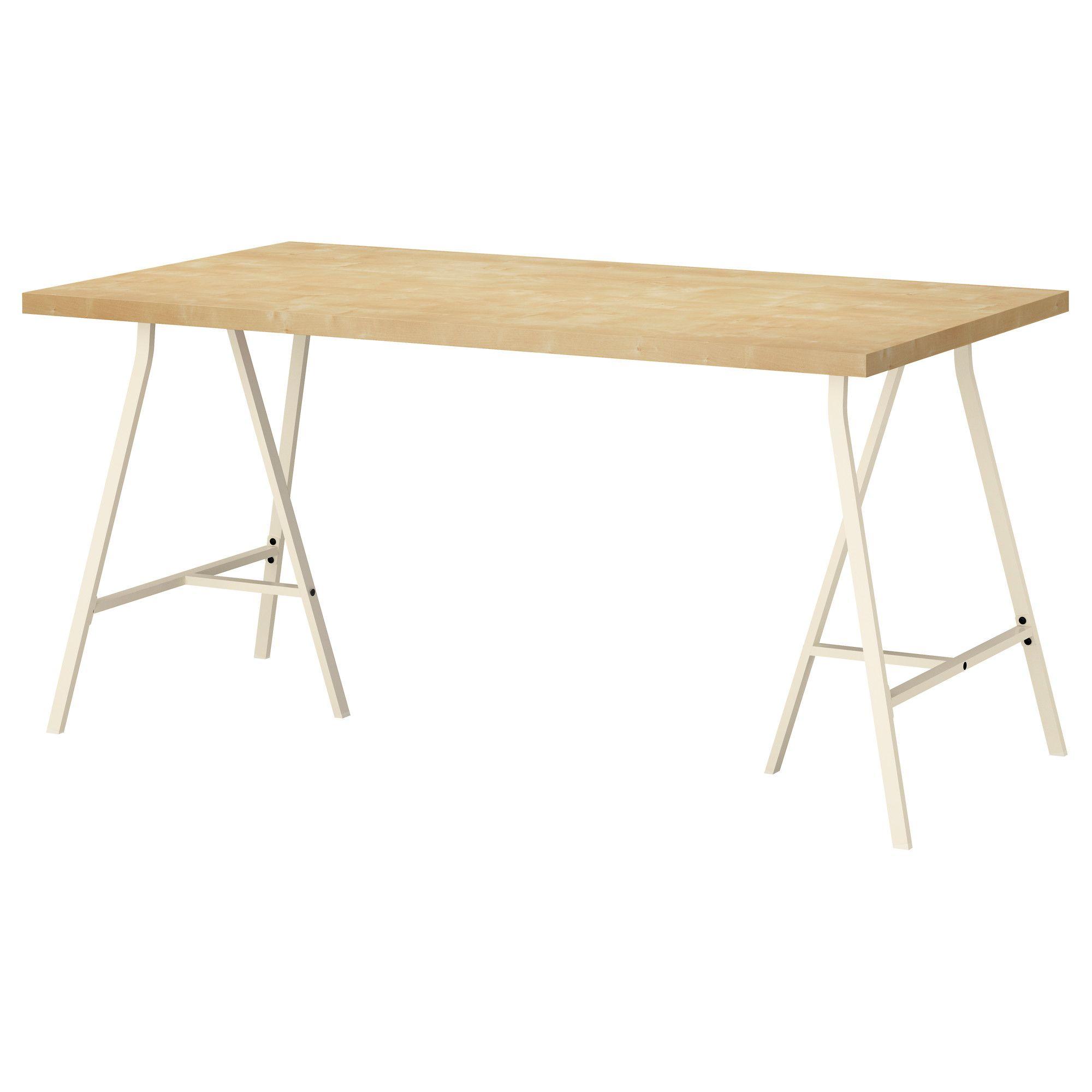 LINNMON/LERBERG Bord - bjørkemønstret/hvit - IKEA