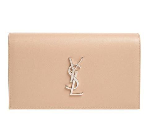 YSL Saint Laurent Monogram Kate Clutch Nude Powder  1245 Beige ... 91b217e43656b